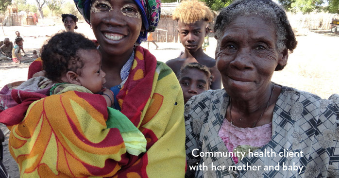 Community health client with her mother and baby
